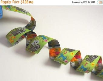 """ON SALE Adorable Green with Gray Mama and Baby Elephant Design Polyester Jacquard Ribbon 7/8"""" Wide-=-By the Yard"""