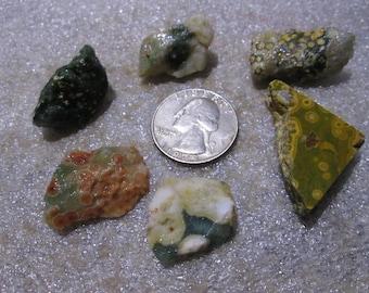 Lot of 6 Small Ocean Jasper Orange Green Gray White Orbs Chunks -5