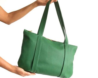 Green leather handbag, vegan leather bag, bohemian bag, green bag, boho leather purse, boho chic shoulder bag, boho purse, womens handbags