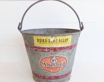Vintage Galvanized  Pail, Red Stripe, Heavy Duty Bucket, Garden Planter