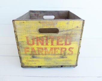 Vintage Wooden Crate, Storage Box, United Farmers, Milk Bottle Crate, Boston Mass