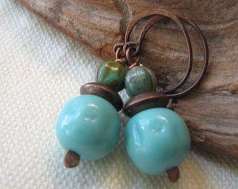 turquoise, green, and copper dangle earrings