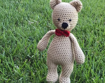 Crochet Bear with red bow tie