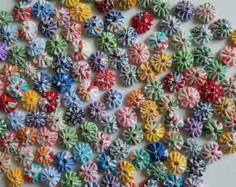 """100 Tiny 1/2"""" Yo Yos Assorted 1930's Reproduction Feedsack Fabrics"""