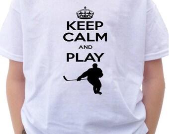 FLASH SALE KEEP Calm and Play Hockey Shirt - Future player shirt -  pro ice hockey player t-shirt sports t-shirt - keep calm shirt - i love
