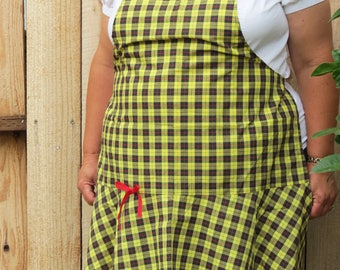 Full Apron with Flirty Skirt:  Bumblebee Yellow, Red, and Black Tartan