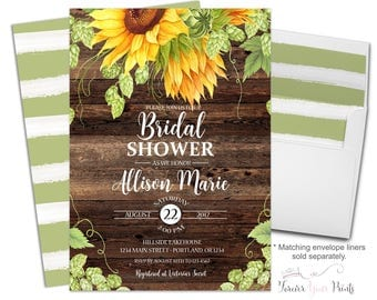 Sunflower Bridal Shower Invitation - Rustic Bridal Shower - Rustic Bridal Invite - Sunflower Invitation - Sunflower Invite - Summer Wedding