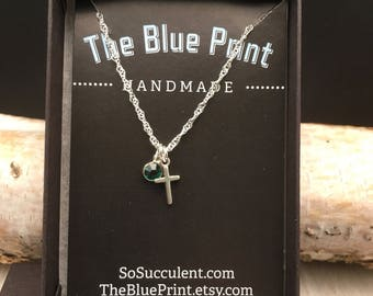 Tiny Cross Sterling Silver Charm, Pendant Necklace, Teenager gift, Teacher gift, co-worker gift, Bff Gift, daughter gift, little girl gift