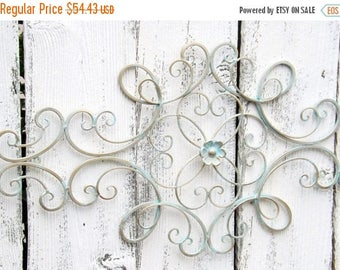 ON SALE Scrolled Wrought Iron // Shabby Chic //Wrought Iron Wall Hanging /Gold Patina Wrought Iron
