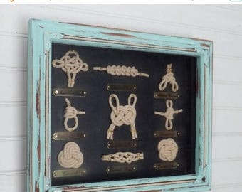ON SALE Sailor Knot Shadow Box// Nautical Knot// Framed Nautical Knots //Coastal Decor // Beach House