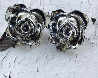Earrings-Vintage -Mid-Century-1960's-Pin-Up-Bridal-Floral-Silver-Rose