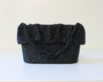 1940s Beaded Handbag // 40s Vintage Black Glass Bead Evening Bag Cocktail Purse