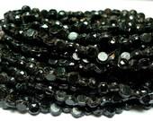 Nailhead glass beads faceted shiny black 3 mm 1 tiny hank