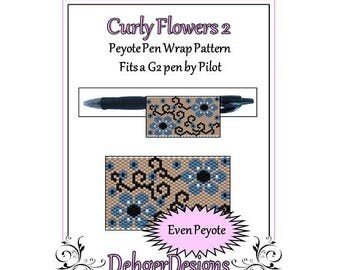 Bead Pattern Peyote(Pen Wrap/Cover)-Curly Flowers 2