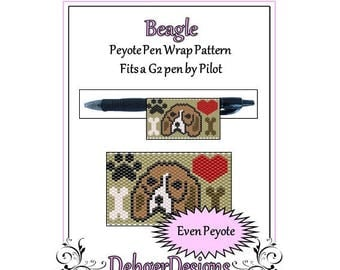 Peyote Beading Pattern (Pen Wrap/Cover)-Beagle