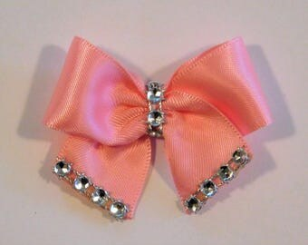 Dog Hair Bow Pink or Red Rhinestones