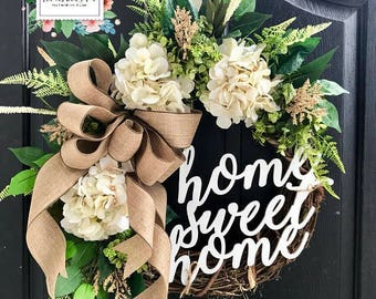 BEST SELLER! Spring Wreaths for Front Door, Front Door Wreaths, Farm House Wreaths, Hydrange Wreath, Grapevine Wreath, Fall Wreaths