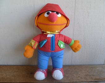 "Original Sesame Street Ernie ""Dress Me Up"" Cloth Doll Playskool  1989"