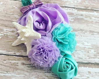 Lilac Mermaid Headband {Newborn, Baby, Toddler, Girl, Adult} Under the Sea + Ocean Queen + Cake Smash + Photo Prop + Glitter Band + Starfish