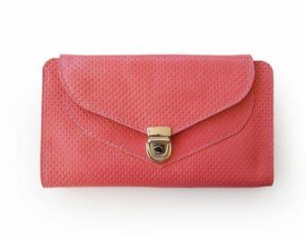 Pink leather wallet, pink wallet, Women's wallet, Handmade wallet