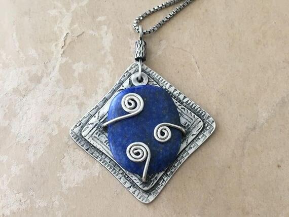 Lapis Lazuli Necklace | Blue Pendant | Spiral Jewelry