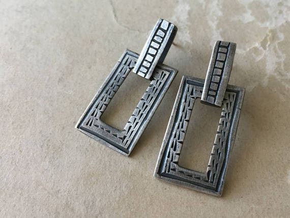 Carved Silver Earrings | Geometric Earrings | Post Dangle