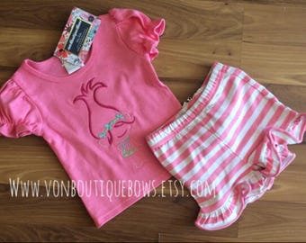 READY TO SHIP pink short set poppy trolls 6 month 12 month 18 month 2T