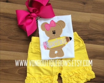 Pencil bear Back to School First Day of School Icing Shorts Boutique Bow preschool pink Yellow 3T 4T 5T 6 8 10 Applique outfit