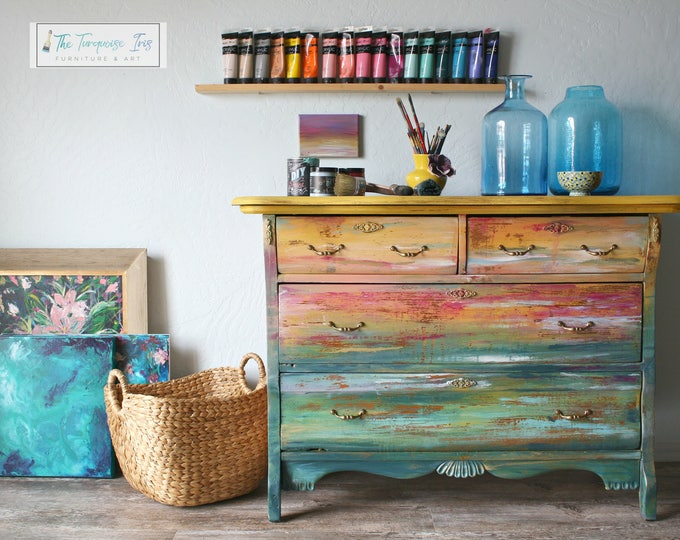Featured listing image: Hand Painted Gorgeous Dresser Featuring and Abstract Sunset Seascape Hand Painting