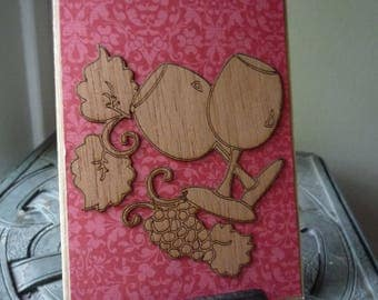 Wine For Two, Laser Cut Greeting Card