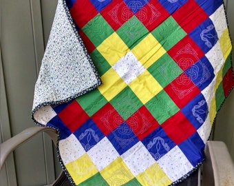 Trip Around the World Quilt with Celtic Knotwork quilting