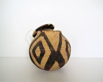 Vintage hand woven Basket/ African hanging basket/ planter/boho decor/global accent