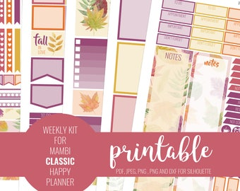 FALL Happy Planner Weekly Printable Kit, Printable Stickers, Weekly Kit, MAMBI Stickers, Happy Planner Stickers