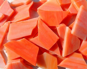 Stained Glass Mosaic Tiles in Orange Creamsicle - 1/2 Pound - 5-15 mm Various Shapes
