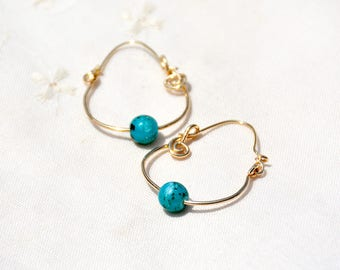 Gold Filled Hoop Earrings. Turquoise Color Bead Hoop Earrings. Gold Filled Jewelry. Teal Earrings. Handmade Earrings. Free Shipping Israel