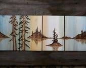 CUSTOM LISTING for Patricia...Islands Apart - Wood burning Art - Landscape Set