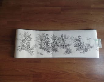 Vintage Waverly Classic Wallpaper Border Black Toile Pattern Countryside
