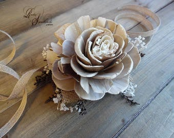 Ships in 5 days ~~~ Large Brown Rose Sola Flower Corsage. Can be worn as a Pin On or Wrist Corsage.