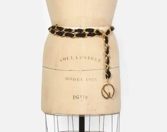 Vintage 90s ST JOHN Gold BELT / 1990s Gold Chain Woven Black Knit Logo Belt