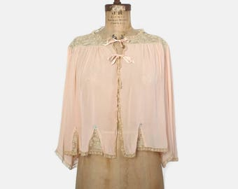 Vintage 40s BED JACKET / 1940s Pale Peach Sheer Chiffon & Lace Tie Front Blouse