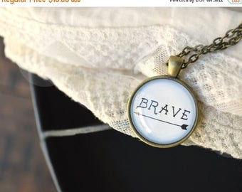 SUMMER SALE Brave Necklace with Card - Inspirational Jewelry - Be Brave Necklace - Be Brave - Be Brave Charm - Word Necklace - Arrow Necklac