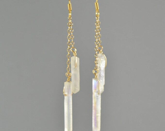 Raw Aura Quartz Crystal Point Double Chain Drop Earrings