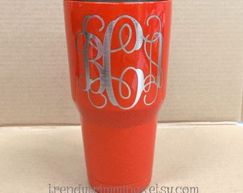 SALE- ready to ship - bCa interlocking- 30 oz Ozark Trail™- Orange w/glitter Etched Powder Coated Stainless Steel Tumbler- FREE shipping