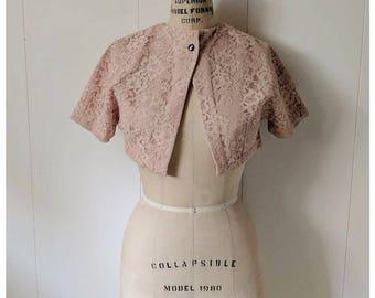 Vintage 50s/60s pink lace formal bolero jacket