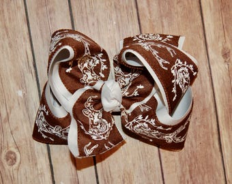 SSD Brown White Deer Hunting Canvas Hair Bow