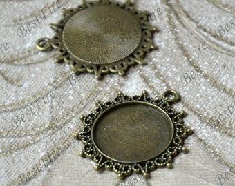 5 pcs Antique bronze Tone ROUND Cabochon pendant tray (Cabochon size 25mm),bezel charm findings,lacework findings,cabochon blank finding