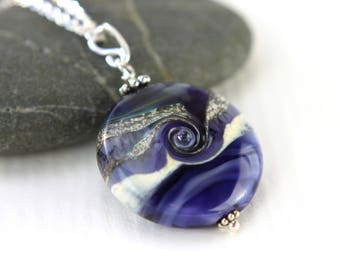 Purple Glass Bead Pendant, SRA, Lampwork Jewelry, Sterling Silver, Glass Bead Lentil, Lampwork Glass, Swedish Handmade