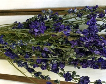 DRIED FLOWERS Lovely Natural Dark Blue LARKSPUR Dried Flower Bunch Dried Wedding flowers Cottage style Shabby chic Prim flowers dried floral