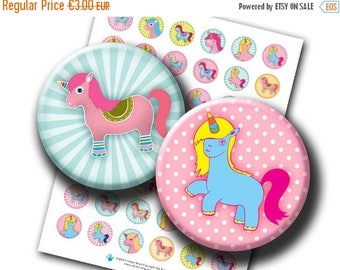 Unicorns 1 & 1.313 inch circles. Cute little pony printable images for bottlecaps magnets, cupcake toppers, buttons. Digital download