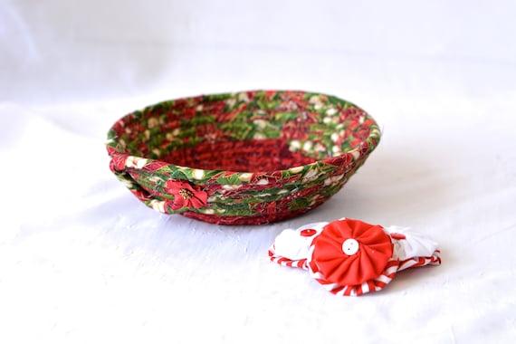 Holiday Decoration, Christmas Candy Dish Bowl, Handmade Christmas Basket, Decorative Holiday Basket, Stocking Stuffer Gift Basket